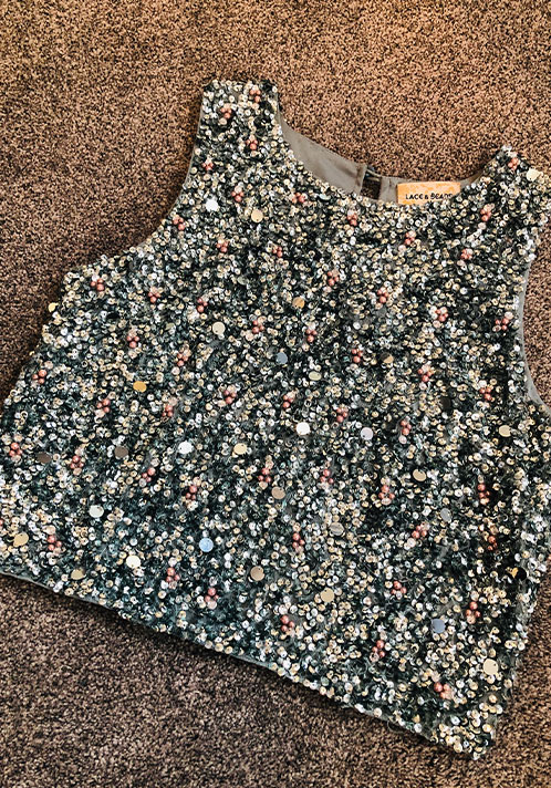 Lace and Beads Picasso Top